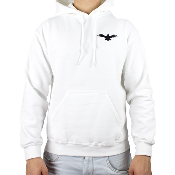 Athletic Men Heavyweight White Hooded Sweatshirt Front
