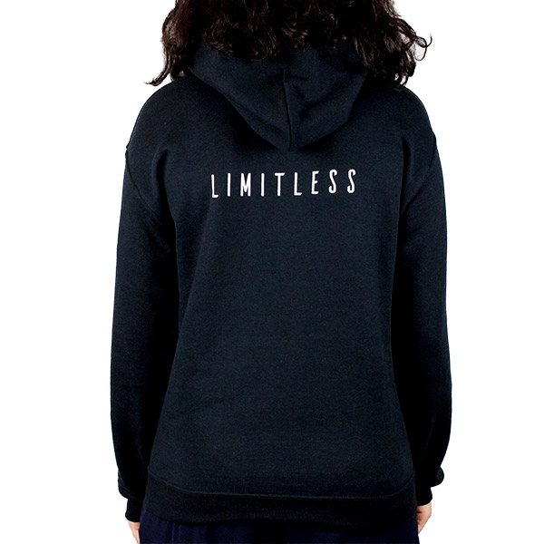Athletic Women Heavyweight Black Hooded Sweatshirt Back