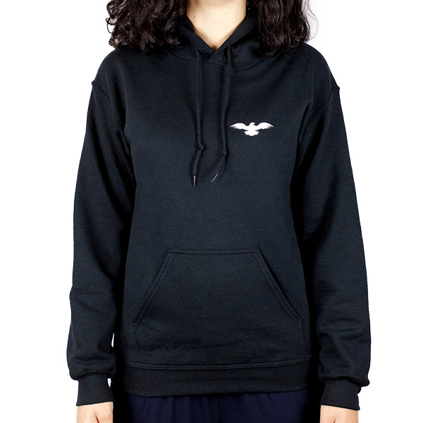 Athletic Women Heavyweight Black Hooded Sweatshirt Front