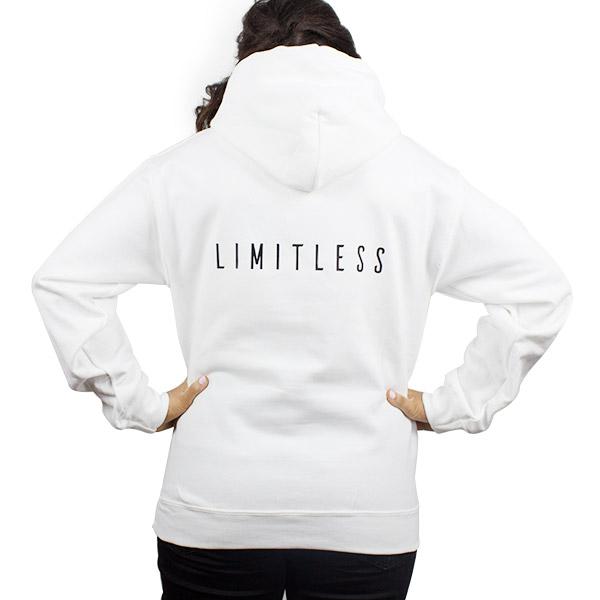 Athletic Women Heavyweight White Hooded Sweatshirt Back