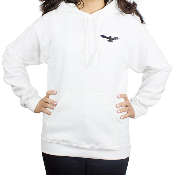 Athletic Women Heavyweight White Hooded Sweatshirt Front