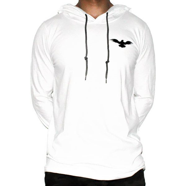 Lightweight Long-Sleeved White Limitless Hoodie Men Front