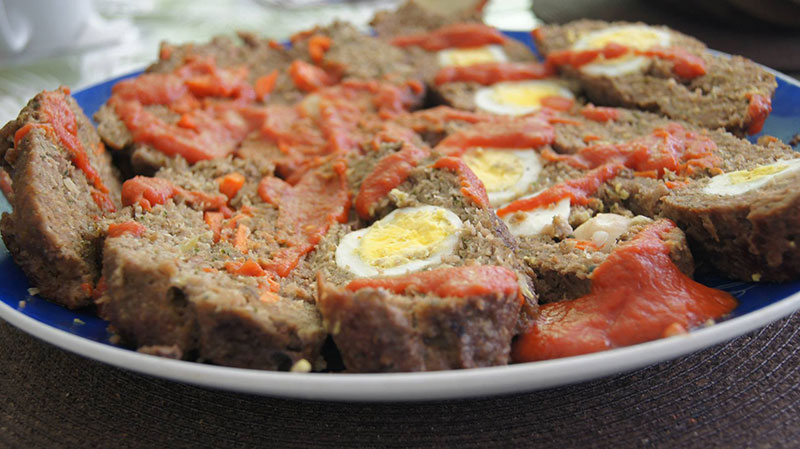 Meat in eggs
